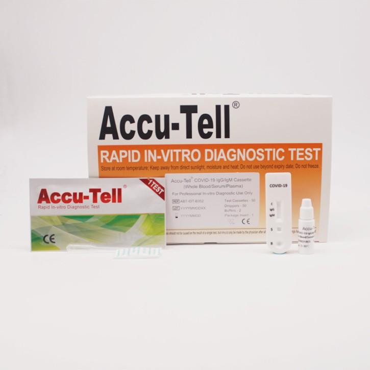 ACCU-Tell Covid-19 IgG/gM Schnelltest (50 Tests) qualifiziert gegen PCR