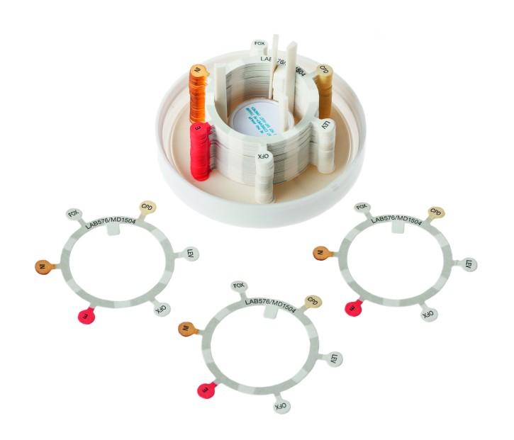 Antibiotika 6er- Ring - EBM Gram neg 2 (50 Stck) Design nach EUCAST 9.0