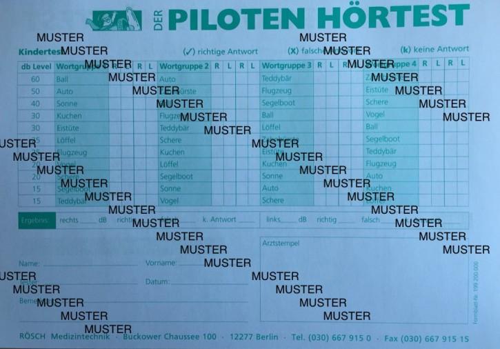 Auswerteblock Rösch á 50 Blatt für Piloten-Hörtest (E-Test)
