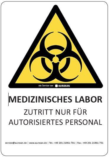Biohazard-Aufkleber Labortür auf PVC Folie, DIN A5, farbig
