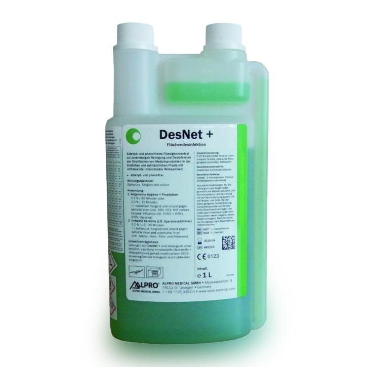 DesNet + (1L Dosierflasche, 200 L bei 0,5%) zur Oberflächenreinigung und -desinfektion