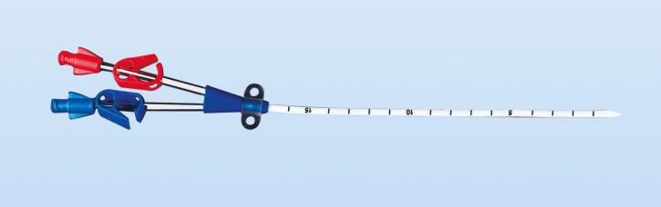 Hämodialysekatheter, doppellumig gerade CH12 16cm mit weicher Spitze und Set mit Stepper Dilator
