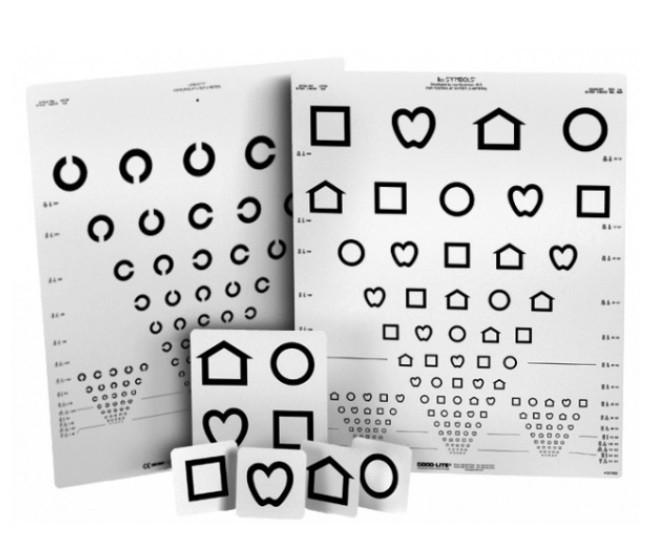 Ferntafel mit LEA-Symbolen und Landoltringen (zweiseitig)