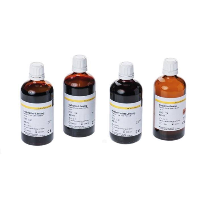 Gram Färbeset - 1 Set (4 x 100 ml Reagenzlösungen) Kristallviolett-,Lugolsche-,Entfärbe-,Safranin-LSG