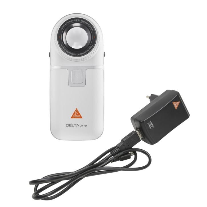 HEINE DELTAone Dermatoskop White Edition Kontaktscheibe mit Skala, USB Kabel, med. Netzteil