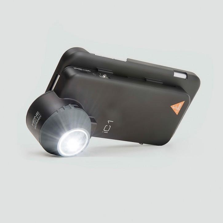 HEINE IC1 Dermatoskopkopf SET/5, Kontaktscheibe mit Skala und Netzteil, passend für iPhone 5