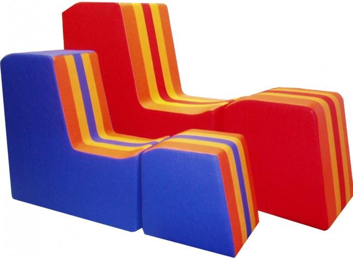 Lehnsitze mit Hocker  B/T/H cm 68/30/68 Spielobjekte zum Sitzen und räumlichen Spielen