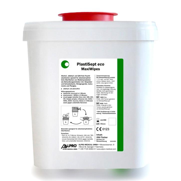 MaxiWipes wet (Box mit 250 Tüchern, 17 x 26 cm) zur Oberflächenreinigung und -desinfektion