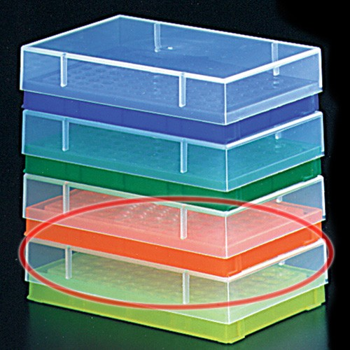 0.2ml PCR Tube Rack with Lid Orange (5 p.)