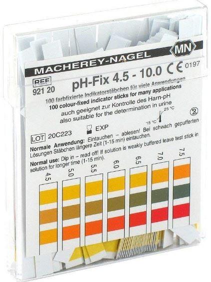 pH-Teststreifen 4,5-10 (100 Stck) Abstufung 0,5, nicht ausblutend, CE-zertifiziert