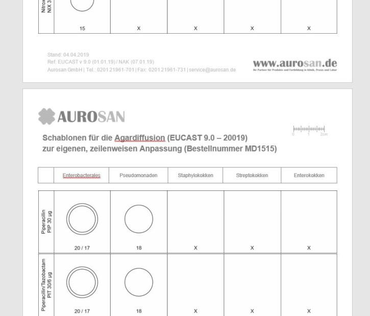 Schablonen EUCAST 9.0 - 2019  Antibiogramm AST im Agadiffusionsverfahren
