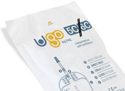 Ugo Beinbeutel 350ml, 0-5cm, Schwenkhahn (1 Stck) steril, direkter Einlass, mit Textilbeschichtung