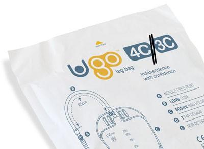 Ugo Beinbeutel 500ml, 5-25cm, Eckhahn (1 Stck) steril, Schlauch mit Textilbeschichtung