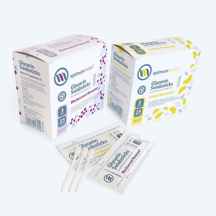 Wattestäb. Glycerin,Johannisbeer-Geschm. 25x3 Stck
