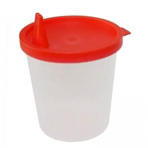 Urinbecher mit Deckel und Schnauze 125 ml 500 Stck mit rotem Schnappdeckel und Ausguss